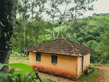 Simple yellow house in Brazil stock photos