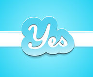 Simple yes text badge on blue background. Stock Image