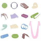 Yoga and Pilates equipment set. Simple yoga and pilates equipment set. Colorful yoga icons Stock Images