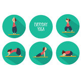 Simple yoga poses for beginners. Isolated vector icons set Stock Photo