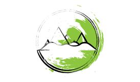 Simplemente ejemplo de montañas en el círculo - blanco, negro y verde con textura Diseñado como ejemplo para Fotografía de archivo libre de regalías