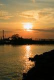 Simplemente puesta del sol del mar Foto de archivo