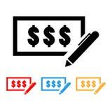 Simples, ícone da verificação do dinheiro com uma pena ilustração stock