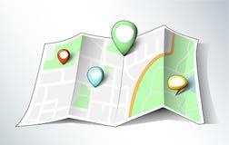 Simples desenho-como o mapa com pinos Fotografia de Stock