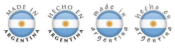 Simples feito em Argentina/sinal espanhol do botão da tradução 3D T ilustração royalty free