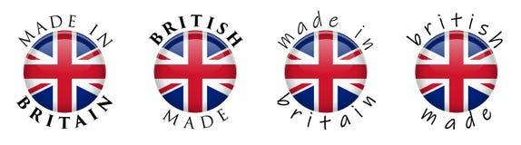 Simples feito em Grâ Bretanha/sinal britânico do botão 3D Texto em torno do cir ilustração do vetor