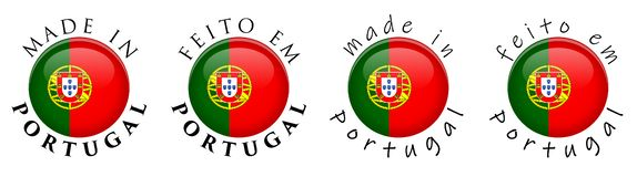 Simples feito em Portugal/sinal português do botão da tradução 3D fotografia de stock