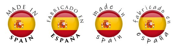 Simples feito na tradução espanhola do en Espana de Spain/Fabricado foto de stock