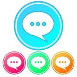 Simples, inclinação, ícone circular da bolha do discurso Ícone da conversação/da fala Quatro variações ilustração stock