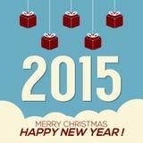 Simplesmente e limpe o cartão do ano 2015 novo Fotografia de Stock Royalty Free