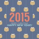 Simplesmente e limpe o cartão do ano 2015 novo Fotos de Stock Royalty Free