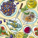 Simpless hand-draw pattern mediterranean food Stock Photos