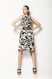 Simplicidad. Mujer en Grey Spotted Summer Dress ordinario. Moda. Serie de fotos Imagenes de archivo