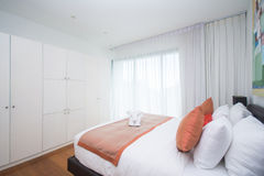 Simplicity bedroom in home Stock Images