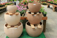 Simplicity of clay planters Stock Photos