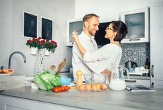 Simplicity of everyday life - marrieds prepare breakfast Stock Image