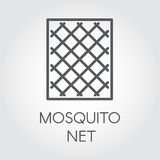 Simplicity icon in linear style of mosquito nets for windows. Concept of protection from insects. Vector Illustrator Royalty Free Stock Images