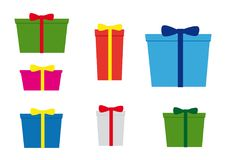 Simplicity icons, set of seven christmas gifts with various colors and bow stock illustration