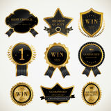 Simplicity prize medal collection set. With black and gold Royalty Free Stock Image