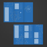 Simplicity tri-fold brochure template design with elegant polygo Stock Photos