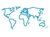 Simplified Blue Thick Outline Of World Map Divided To Six Continents. Simple  Flat Vector Illustration