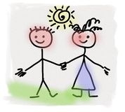 Simplified hand drawn boy and girl Royalty Free Stock Photography