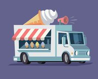 Simplified ice cream truck. Vector flat style Stock Images