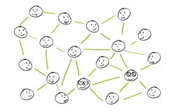 Simplified illustration of a social network Stock Images