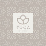 Simplified Lotus Yoga Studio Design Card Royalty Free Stock Photos
