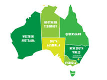 Simplified map of Australia divided into states and territories. Green flat map with white borders and white labels Stock Image