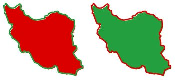 Simplified map of Iran Persia outline. Fill and stroke are nat. Ional colours royalty free illustration
