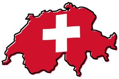 Simplified map of Switzerland outline, with slightly bent flag u stock illustration