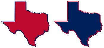 Simplified map of Texas outline. Fill and stroke are state colours. royalty free illustration
