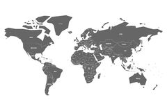 Simplified map of World in grey with country name labeling. Schematic vector map with small states or ministates.  Stock Photo
