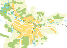 Simplified Vector Map of The City Stock Photography