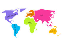 Simplified world map divided to six continents in different colors. Simple flat vector illustration. Royalty Free Stock Photos