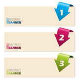 Simplistic banners with folding arrows. Simplistic banner set with folding arrow numbers stock illustration