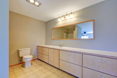 Simplistic bathroom with shower, toilet and long cabinet. Northwest, USA Stock Photos