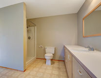 Simplistic bathroom with shower, toilet and vanity cabinet. Northwest, USA Royalty Free Stock Photography