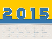 Simplistic 2015 calendar. Design with big bold numbers Stock Illustration