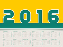 Simplistic 2016 calendar. Design with big bold numbers Stock Photo
