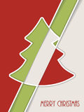 Simplistic christmas greeting with white line tree and shadow Royalty Free Stock Photography