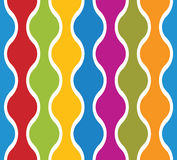 Simplistic colorful wavy lines seamless pattern. Stock Photos