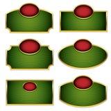 Simplistic labels. Simplistic labels with golden frames set. Vector design elements collection Stock Photo