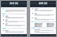 Simplistic modern resume cv with stripes Stock Images