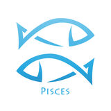 Simplistic Pisces Zodiac Star Sign. Illustration of Simplistic Lines Pisces Zodiac Star Sign isolated on a white background Stock Photo