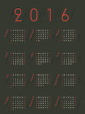 Simplistic retro colored 2016 calendar Stock Photography
