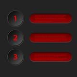 Simplistische 3d infographic in zwarte rode kleur Stock Fotografie