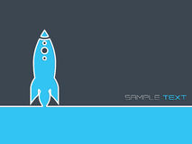 Simplistische start bedrijfsachtergrond met blauwe raket Stock Foto