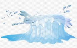 Simply Big water splash. With transparent vector illustration